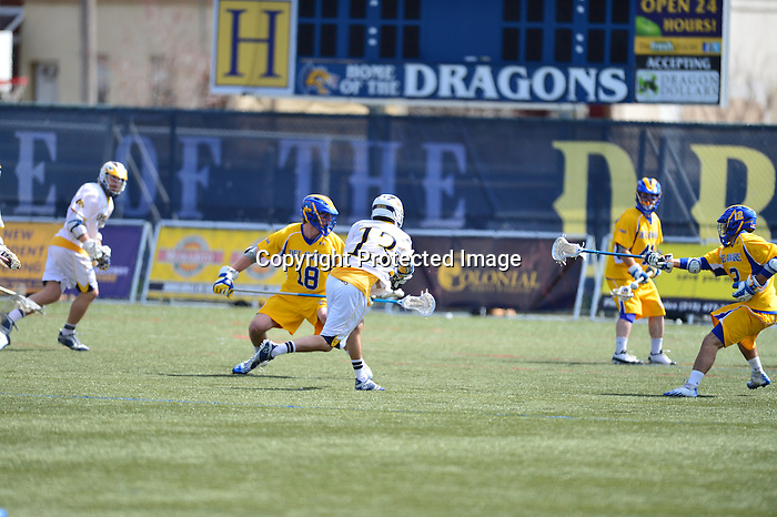 Philadelphia, Pa. - Drexel scored three times in a span of 25 seconds in the fourth quarter and came from behind to defeat Delaware, 11-10, at Vidas Field. The 14th-ranked Dragons, who trailed by as many as five goals in the second half, scored six fourth-quarter goals to stun the Blue Hens and win their fourth straight game.....The Dragons (8-2, 3-0 CAA) were down 9-6 with 10:32 to play after a Nick Diachenko goal for the Hens (2-8, 0-3 CAA). The Dragons started a 5-0 run just 25 seconds later when Robert Church scored an unassisted goal, his 21st of the season. Drexel got the crowd back in the game when it trimmed the lead to one with 6:32 remaining. Aaron Prosser fed Ryan Belka, who fired a shot from the perimeter past Delaware keeper Conor Peaks.....Belka and Prosser again hooked up on a goal, this time with Belka setting up Prosser, to tie the score at 9-9 with just 2:38 left. On the ensuing face-off, Drexel's Nick Saputo, who struggled in the first half, won the face-off cleanly and sprinted towards the Delaware cage. He fired a shot low past the Blue Hens keeper to put Drexel ahead for the first time since early in the first quarter.....Twenty seconds later, Drexel got an insurance goal. Frank Fusco had the ball in the corner behind the net and lofted a pass to a streaking Ben McIntosh. The junior went in alone and gave Drexel an 11-9 advantage with 2:13 on the clock. The Dragons would need that as Delaware wasted little time in trying to mount a comeback of its own. Diachenko scored his second of the quarter with less than two minutes to play, making it an 11-10 game.....The Hens had one last chance to tie when they got possession in the Drexel end and called time with nine seconds remaining. However, Delaware was unable to get a shot on goal after moving the ball around and having a last ditch effort from outside the box go high as time expired.