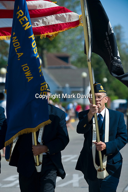 Darwin Brown carried the POW/MIA flag in the Memorial Day parade May 28.