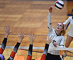 Althoff's Karinna Gall hits the ball over. Edwardsville defeated Althoff in a Class 4A volleyball sectional semifinal at O'Fallon HS in O'Fallon, IL on November 4, 2019.<br /> Tim Vizer/Special to STLhighschoolsports.com