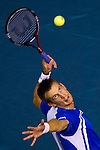 BANGKOK, THAILAND - OCTOBER 03:  Jarkko Nieminen of Finland serves to Guillermo Garcia-Lopez of Spain in their singles final match during the Day 9 of the PTT Thailand Open at Impact Arena on October 3, 2010 in Bangkok, Thailand. Photo by Victor Fraile / The Power of Sport Images