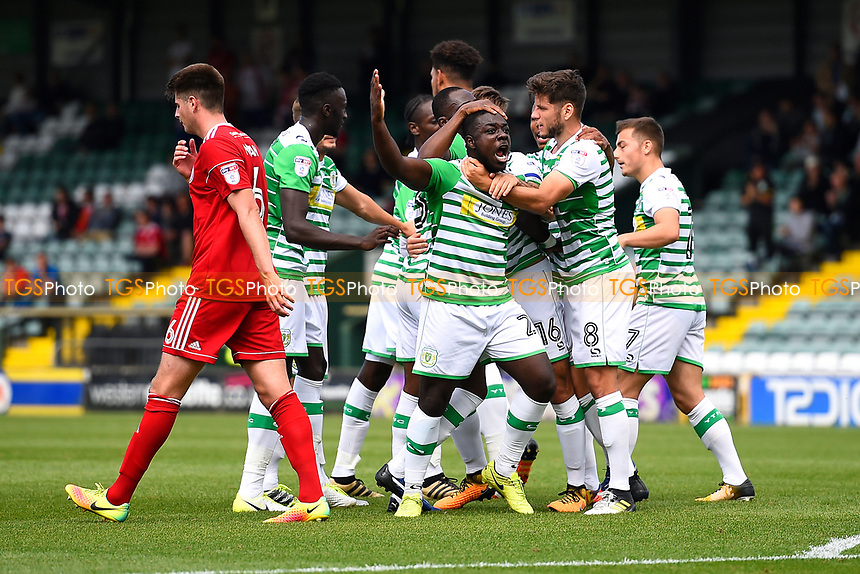 Olufela Olomola of Yeovil Town middle celebrates his goal during Yeovil Town vs Accrington Stanley, Sky Bet EFL League 2 Football at Huish Park on 12th August 2017