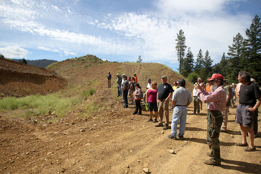Looking over the different cut levels.<br /> <br /> Spent the weekend with Prospectors Plus checking out the gold claims in Liberty, WA.  Photo credit Jesse Beals / www.Olympicphotogroup.com