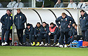 THE CELTIC BENCH AT EAST END PARK DURING THE FIRST HALF OF THE GAME AGAINST DUNFERMLINE