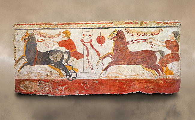 Lucanian fresco tomb painting of a chariot race . Paestrum, Andriuolo. 3rd Century BC
