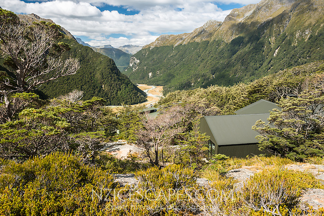 Views into Routeburn Flats from Routeburn Falls hut, Mt. Aspiring National Park, UNESCO World Heritage Area, Central Otago, New Zealand, NZ