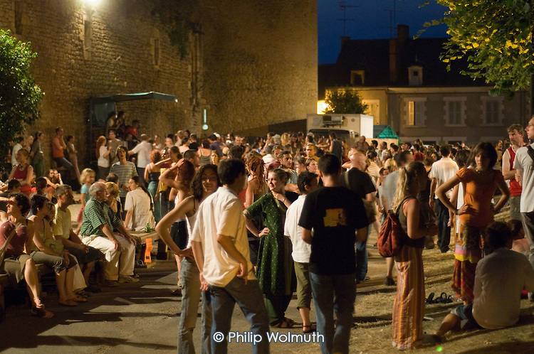 Traditional dancing in the village of Saint Chrtier during the 31st International Festival of Luthiers and Maitres Sonneurs, France.