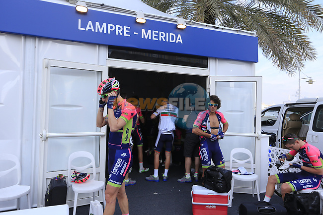 Lampre-Merida riders prepare before the start of Stage 1, the Dubai Silicon Oasis Stage, of the 2016 Dubai Tour starting at the Dubai International Marine Club and running 175km to Fujairah, Mina Seyahi, Dubai, United Arab Emirates. 3rd February 2016.<br /> Picture: Eoin Clarke | Newsfile<br /> <br /> <br /> All photos usage must carry mandatory copyright credit (&copy; Newsfile | Eoin Clarke)