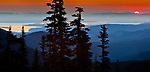 View east to Puget Sound and Cascade Range from Olympic National Park, Washington, USA