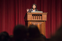 Longtime labor leader Dolores Huerta, 81, speaks at Occidental College's Thorne Hall on March 25, 2014. Along with Cesar Chavez, Huerta cofounded the National Farmworkers Union, later known as the United Farm Workers. A recipient of the Presidential Medal of Freedom, she continues to work tirelessly, developing leaders and advocating for the working poor, women and children. As president of the Dolores Huerta Foundation, she travels across the country speaking to students and organizations about issues of social justice and public policy.  She first spoke at Occidental in May 1970.<br />