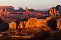 Morning light on monuments from Hunts Mesa, Monument Valley Tribal Park, Arizona