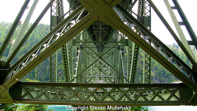 Under the bridge that spans Deception Pass in Washington State. Deception Pass is a strait separating Whidbey Island from Fidalgo Island, in the northwest part of the U.S. state of Washington. It connects Skagit Bay, part of Puget Sound, with the Strait of Juan de Fuca.