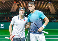 Rotterdam, The Netherlands, 12 Februari 2019, ABNAMRO World Tennis Tournament, Ahoy, first round singles: Denis Shapovalov (CAN) - Franko Skugor (CRO),<br /> Photo: www.tennisimages.com/Henk Koster