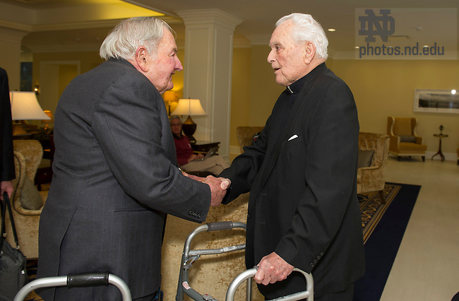 Nov. 12, 2013; Luncheon with Presdident Emeritus Rev. Theodore M. Hesburgh, C.S.C., and American banker and philanthropist, David Rockefeller at the Morris Inn. Photo by Barbara Johnston/University of Notre Dame