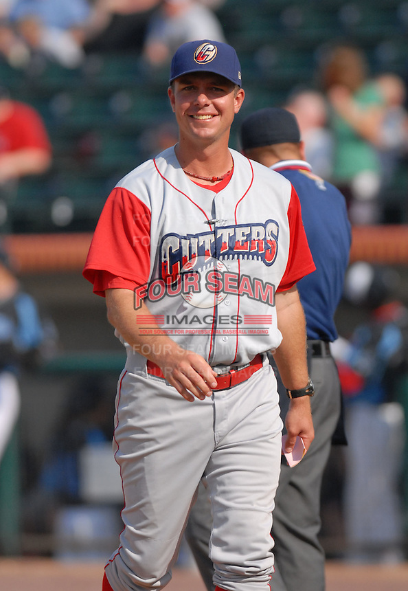 Chris Truby, the manager of the Williamsport Crosscutters, the short season A ball affiliate of the Philadelphia Phillies,at Edward LeLacheur Park in Lowell,MA on July 18, 2009 (Photo by Ken Babbitt/Four Seam Images)