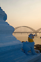 The Bridge and Pagoda on the Ayeyarwaddy river bank near Sagaing, Mandalay Myanmar/Burma