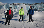 From left, bikers Alan Colter, Chad Carpenter and Sean Ruddy at Knik Glacier March 17, 2017