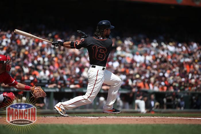 SAN FRANCISCO, CA - MAY 2:  Angel Pagan #16 of the San Francisco Giants bats against the Los Angeles Angels during the game at AT&T Park on Saturday, May 2, 2015 in San Francisco, California. Photo by Brad Mangin
