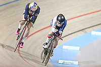Picture by SWpix.com - 03/03/2018 - Cycling - 2018 UCI Track Cycling World Championships, Day 4 - Omnisport, Apeldoorn, Netherlands - Women's Individual Pursuit - Ellie Dickinson of great Britain and Chloe Dygert of The United States