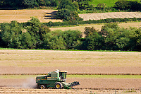 Combine harvester in a wheat field, Herefordshire, England, United Kingdom