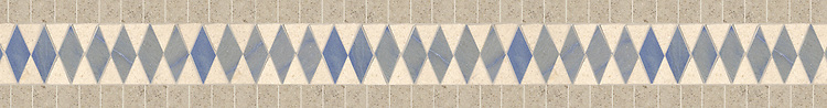 "5 1/4"" Diamond border, a hand-cut stone mosaic, shown in honed Gascogne Blue, polished Blue Macauba, and polished Saint Richard."