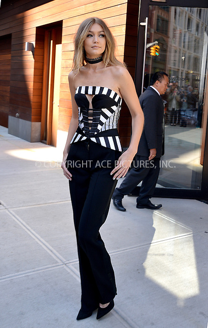 WWW.ACEPIXS.COM<br /> <br /> May 16 2016, New York City<br /> <br /> Model Gigi Hadid leaces her East Village apartment on the way to the Jimmy Fallon show on May 16 2016 in New York City<br /> <br /> By Line: Curtis Means/ACE Pictures<br /> <br /> <br /> ACE Pictures, Inc.<br /> tel: 646 769 0430<br /> Email: info@acepixs.com<br /> www.acepixs.com