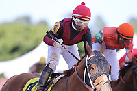 HOT SPRINGS, AR - APRIL 14: Whitmore #4, with jockey Ricardo Santana, Jr. aboard crossing the finish line in the Count Fleet Sprint at Oaklawn Park on April 14, 2018 in Hot Springs, Arkansas. (Photo by Justin Manning/Eclipse Sportswire/Getty Images)