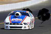 Jul. 27, 2013; Sonoma, CA, USA: NHRA pro stock driver Larry Morgan during qualifying for the Sonoma Nationals at Sonoma Raceway. Mandatory Credit: Mark J. Rebilas-