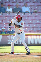 Reggie Pruitt (13) of the Vancouver Canadians bats against the Salem-Keizer Volcanoes at Volcanoes Stadium on July 24, 2017 in Keizer, Oregon. Salem-Keizer defeated Vancouver, 4-3. (Larry Goren/Four Seam Images)