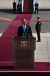 US President Barack Obama speaks during a welcoming ceremony at Ben Gurion airport, central Israel, upon his arrival for a visit in the region.<br />
