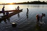MADAGASCAR, village AMBOHITSARA at canal des Pangalanes, tribe ANTAMBAHOAKA / MADAGASKAR, Mananjary, Dorf AMBOHITSARA am canal des Pangalanes,  Volksgruppe ANTAMBAHOAKA