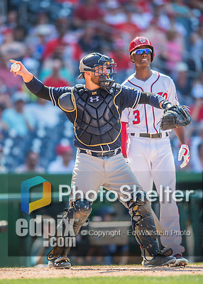 24 July 2016: San Diego Padres catcher Derek Norris in action against the Washington Nationals at Nationals Park in Washington, DC. The Padres defeated the Nationals 10-6 to take the rubber match of their 3-game, weekend series. Mandatory Credit: Ed Wolfstein Photo *** RAW (NEF) Image File Available ***