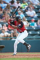Bubba Thompson (25) of the Hickory Crawdads at bat against the Kannapolis Intimidators at L.P. Frans Stadium on July 20, 2018 in Hickory, North Carolina. The Crawdads defeated the Intimidators 4-1. (Brian Westerholt/Four Seam Images)