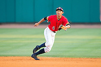 Charleston RiverDogs second baseman Gosuke Katoh (4) tracks a ground ball against the Greenville Drive at Joseph P. Riley, Jr. Park on May 26, 2014 in Charleston, South Carolina.  The Drive defeated the RiverDogs 11-3.  (Brian Westerholt/Four Seam Images)