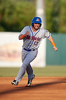 St. Lucie Mets designated hitter Anthony Dimino (13) runs the bases during a game against the Florida Fire Frogs on April 19, 2018 at Osceola County Stadium in Kissimmee, Florida.  St. Lucie defeated Florida 3-2.  (Mike Janes/Four Seam Images)