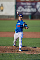 Ogden Raptors starting pitcher Kevin Malisheski (28) delivers a pitch to the plate against the Orem Owlz at Lindquist Field on June 26, 2018 in Ogden, Utah. The Raptors defeated the Owlz 6-5. (Stephen Smith/Four Seam Images)