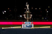 "The California-Carolina League All-Star trophy sits on a table between the 2 ""Top Star"" awards following the conclusion of the 2012 California-Carolina League All-Star Game at BB&T Ballpark on June 19, 2012 in Winston-Salem, North Carolina.  The Carolina League defeated the California League 9-1.  (Brian Westerholt/Four Seam Images)"