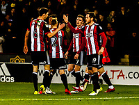 Sheffield United's midfielder Chris Basham (6) congratulates Richard Stearman during the Sky Bet Championship match between Sheff United and Queens Park Rangers at Bramall Lane, Sheffield, England on 20 February 2018. Photo by Stephen Buckley / PRiME Media Images.