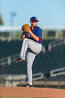 AZL Rangers starting pitcher Chi Chi Gonzalez (21) delivers a pitch during a rehab start in an Arizona League playoff game against the AZL Indians 1 at Goodyear Ballpark on August 28, 2018 in Goodyear, Arizona. The AZL Rangers defeated the AZL Indians 1 7-4. (Zachary Lucy/Four Seam Images)