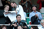 05.06.13, Leipzig, Red Bull Arena, GER, Abschiedsspiel Michael Ballack, Ciao MB <br /> im Bild  links G&uuml;nther Netzer, rechts Bundestrainer Joachim L&ouml;w auf der Trib&uuml;ne <br /> <br />  // during the match between Team Weltauswahl and Team Ballack &amp; Friends on 05.06.13   <br />   Foto &copy; nph / Hessland *** Local Caption ***