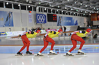 SCHAATSEN: SALT LAKE CITY: Utah Olympic Oval, 16-11-2013, Essent ISU World Cup, Team Pursuit, Bart Swings, Maarten Swings, Ferre Spruyt (BEL), ©foto Martin de Jong