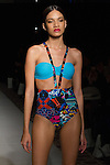 "Model walks runway in a swimsuit from the Avid Swim ""Cadiz Resort"" 2017 collection by Gionna Nicole, on February 10, 2017 in The Stewart Hotel during Fashion Gallery New York Fashion Week Fall Winter 2017."