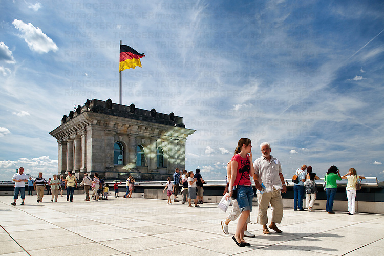 Visitors on the roof terrace of the Reichstag, Berlin, Germany