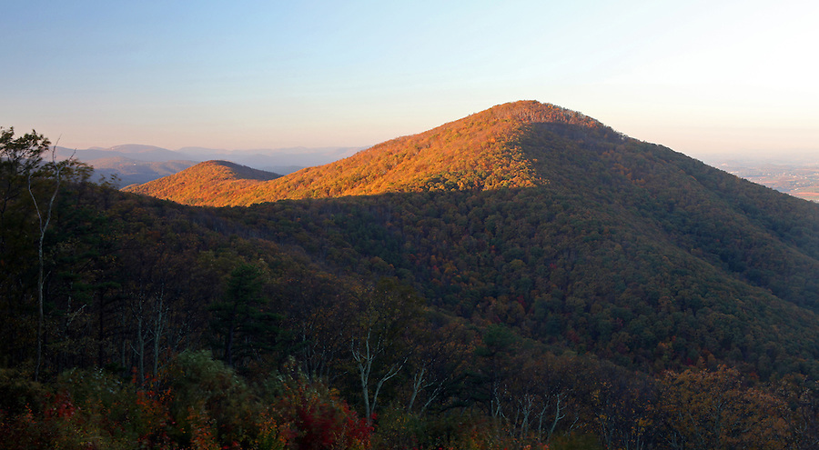 The Blue Ridge mountains scenic views from Shenandoah National forest of Dean Mountain Gap.