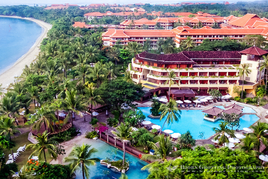 Bali, Badung, Nusa Dua. Hotels on Nusa Dua, Bali. (From helicopter)