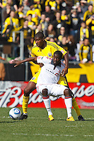 27 MARCH 2010: Fuad Ibrahim of Toronto FC (7) and Andy Iro of the Columbus Crew (6) during the Toronto FC at Columbus Crew MLS game in Columbus, Ohio on March 27, 2010.
