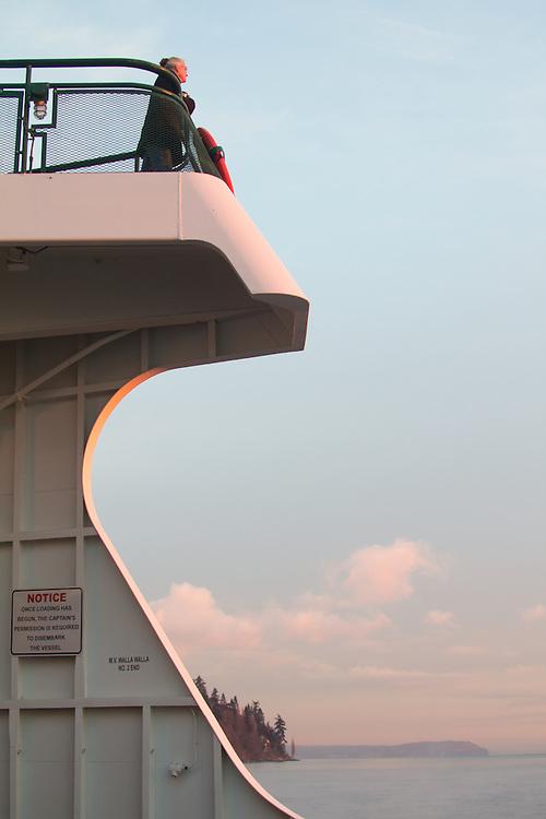 Washington State ferry, sunrise, Mount Rainier, Puget Sound, Seattle, Washington State, Pacific Northwest,  United States,