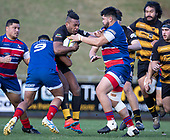 Rowland Kotobalavu gets caught by Siaosi Nginingini and Joel Taumateine. Counties Manukau Premier 1 McNamara Cup Final between Ardmore Marist and Bombay, played at Navigation Homes Stadium on Saturday July 20th 2019.<br />  Bombay won the McNamara Cup for the 5th time in 6 years, 33 - 18 after leading 14 - 10 at halftime.<br /> Photo by Richard Spranger.