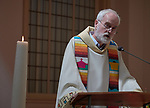 The Rev. Cor Ofman speaks during a July 23 interfaith prayer and memorial service in the Keizersgrachtkerk in Amsterdam, the Netherlands. Sponsored by the World Council of Churches-Ecumenical Advocacy Alliance, the service was held on the first day of the 2018 International AIDS Conference.