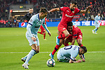 06.11.2019, BayArena, Leverkusen, Championsleague, Vorrunde, 4. Spieltag, GER, UEFA  CL, Bayer 04 Leverkusen (GER) vs. Atletiko Madrid (ESP),<br />  <br /> UEFA regulations prohibit any use of photographs as image sequences and/or quasi-video<br /> <br /> im Bild / picture shows: <br /> Kerem Demirbay (Leverkusen #10), im Zweikampf gegen  Santiago Arias (Atletico Madrid #4), am Boden Ángel Correa (Atletico Madrid #10),  und hinten Wendell (Leverkusen #18), <br /> <br /> Foto © nordphoto / Meuter<br /> <br /> <br /> <br /> Foto © nordphoto / Meuter