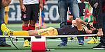 AMSTELVEEN - Zware blessure voor Gijs Campbell van Den Bosch tijdens de hoofdklasse competitiewedstrijd hockey tussen de mannen van Amsterdam en Den Bosch (5-5). COPYRIGHT KOEN SUYK